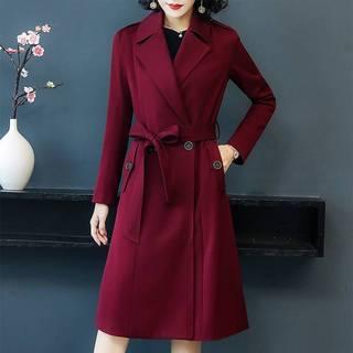 2019春秋季新款女装风衣女士外套中长款黑色大码收腰显瘦休闲气质