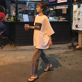 休息套装女装夏天韩版下半身消失t恤女欧阳娜娜黑白格子裤两件套