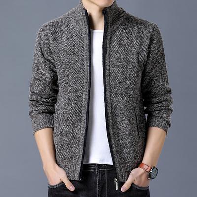 男士休闲夹克毛衣男春秋季韩版青少年立领帅气潮流修身针织衫外套