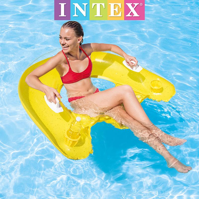 INTEX水果浮排 加厚充气菠萝浮床成人游泳水上冰淇淋充气床海滩垫