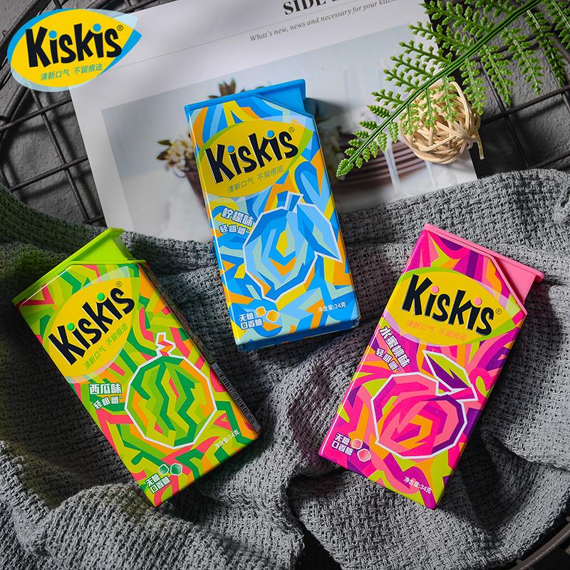 新品 酷滋KisKis轻咀嚼 木糖醇无糖口香糖水果味清新口气34克/盒