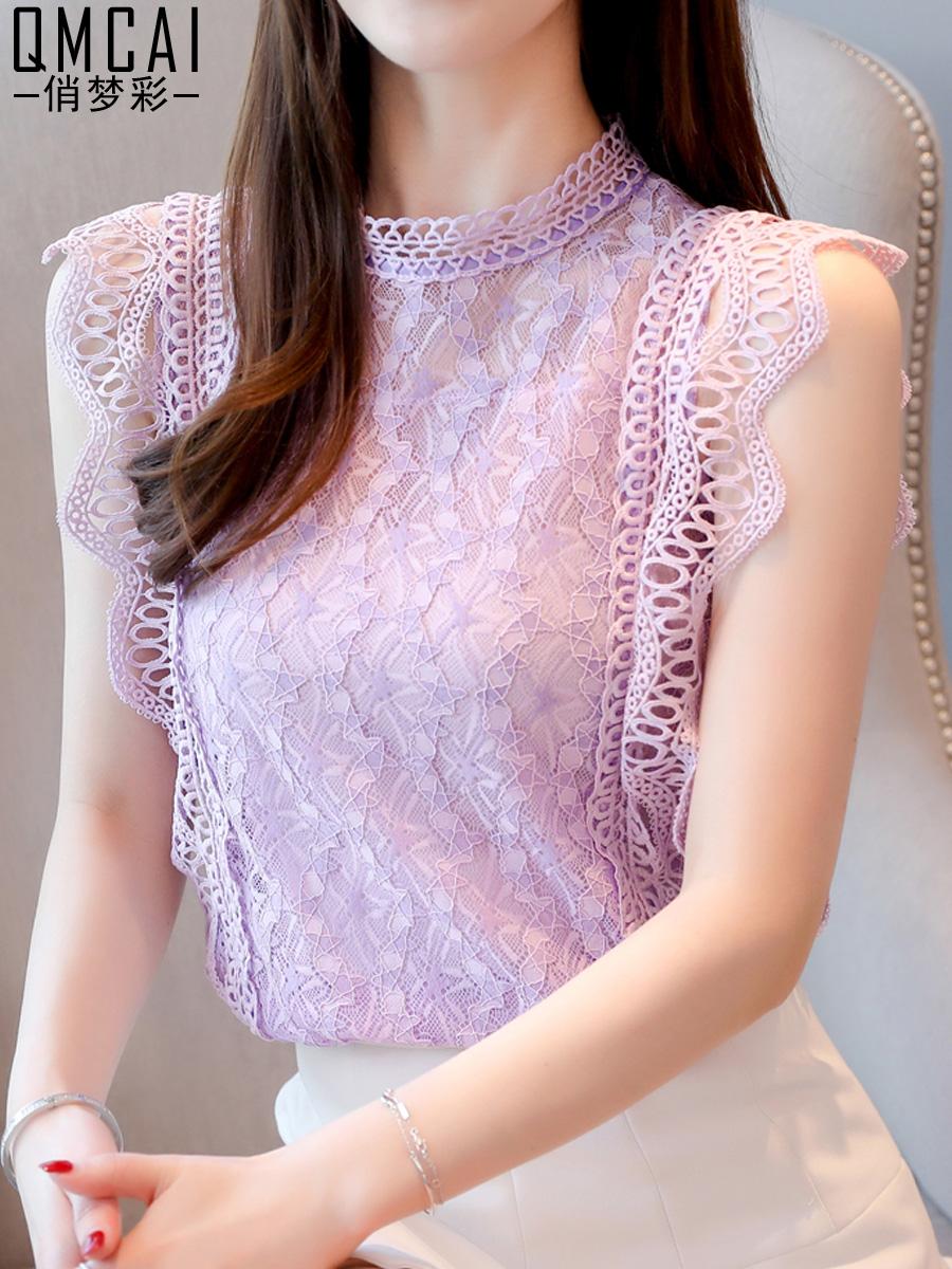 很仙的蕾丝打底衫夏季港味女式无袖雪纺衬衫洋气仙女范夏天上衣服