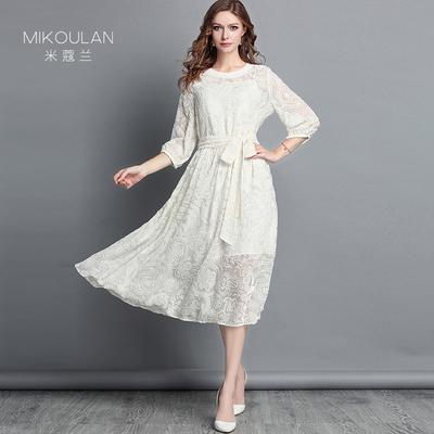 欧洲站金丝绒连衣裙女秋季2018新款气质长袖白色提花中长裙套装