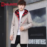 男款风衣中长款春秋帅气披风青少年韩版修身男生连帽毛呢灰色大衣