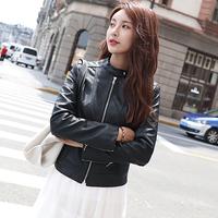 2018新款秋冬PU皮衣女韩版修身显瘦百搭时尚短款皮夹克机车小外套