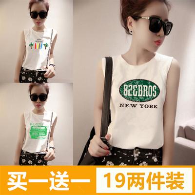 夏季韩版小背心女外穿宽松bf风学生百搭无袖t恤吊带打底短款上衣
