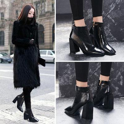 高跟短靴chic马丁靴女鞋秋2018新款英伦风韩版百搭短筒漆皮靴粗跟