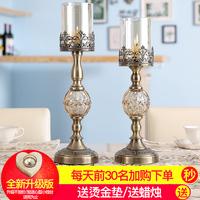 美式餐桌样板房软装饰品摆件欧式浪漫烛光晚餐道具水晶金属蜡烛台