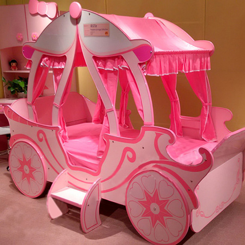 小女孩床公主床粉红色
