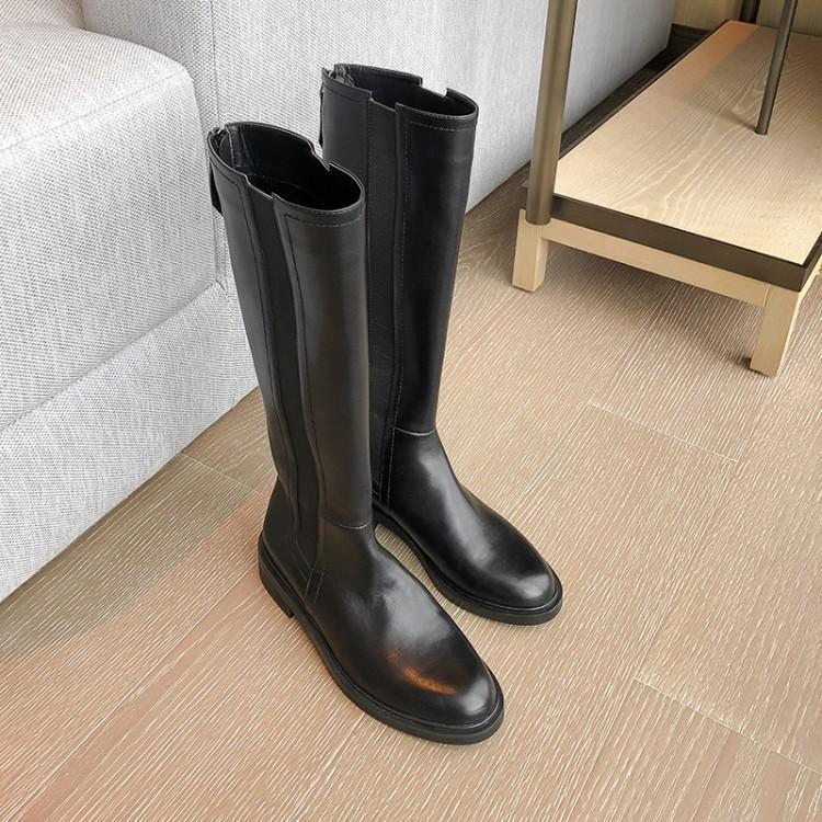 2019新款秋冬女靴直筒平底高靴平跟真皮长靴厚底骑士靴牛皮靴瘦腿