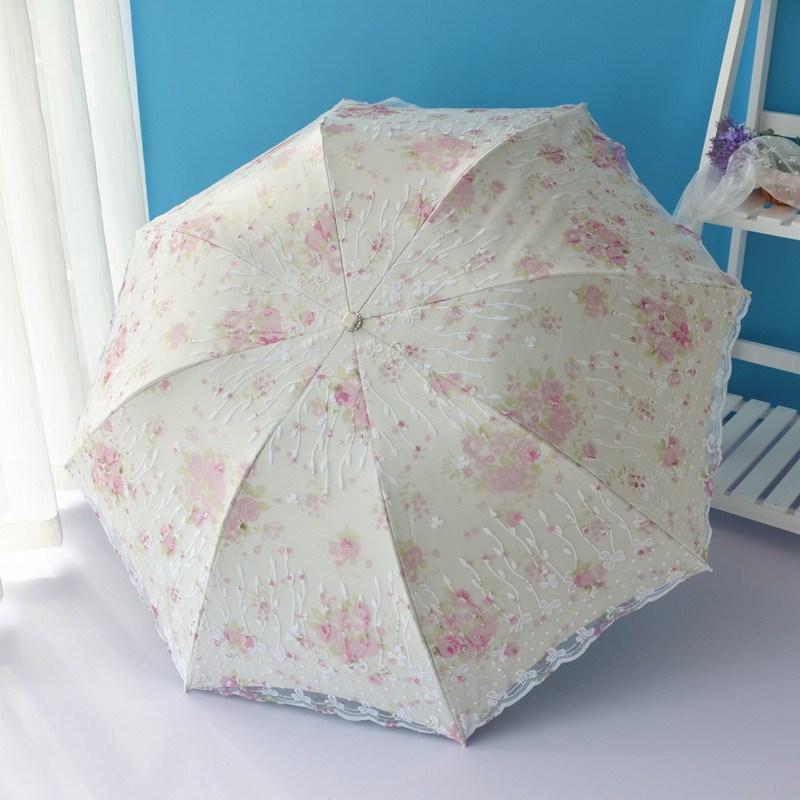 小清新太阳伞超强防晒防紫外线蕾丝遮阳女韩版双层折叠晴雨伞两用可领取领券网提供的2.00元优惠券