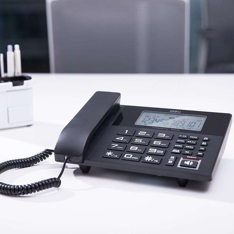 得力录音电话机799数码录音电话座机商务多功能电信移动通用有线座机大容量内存带USB口分组大屏幕留言录音