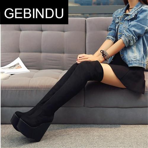 GEBINDU欧美风纯黑色绒面过膝长筒靴子超高跟坡跟内增高女性感夜
