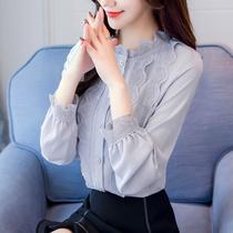 长袖雪纺衫女装秋装2018新款潮韩版时尚蕾丝上衣衬衫百搭衣服气质