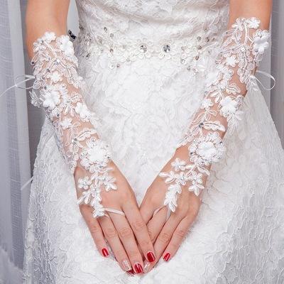 2016韩版白色结婚新娘手套长款缎面婚纱手套红色婚礼蕾丝手套长款