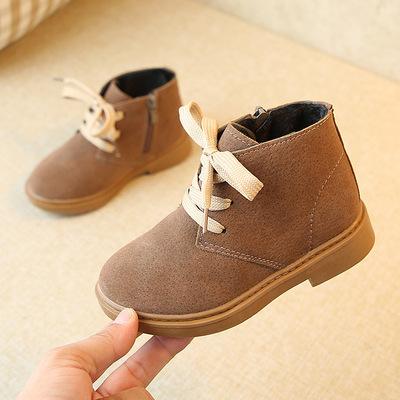 儿童高帮靴子秋冬新款女童马丁靴系带男童时尚防滑战靴子