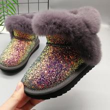 2018冬季女童高跟雪地靴子防滑儿童公主高筒皮靴加绒中大童棉靴鞋