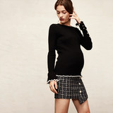 SELLYNEAR pregnant women spring and autumn new dress skirt tweed small fragrance blue white houndstooth skirt