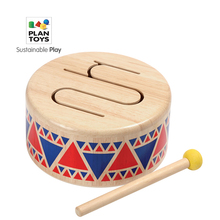 Imported PlanToys 6404 Wooden Drum Children's Enlightenment Music Percussion Wooden Early Education Instrument Toy Gift