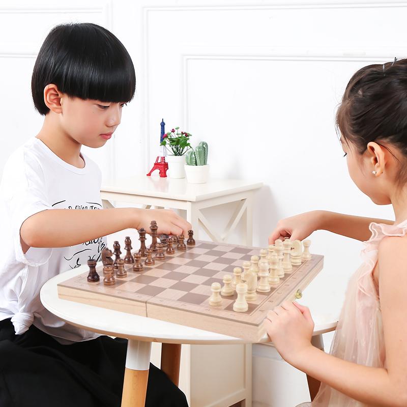 木制玩具国际象棋可折叠启智木制智力玩具多功能棋