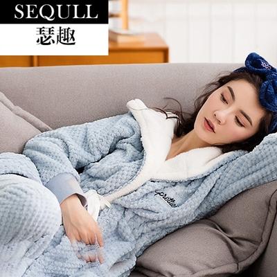 瑟趣 高档睡衣长袖珊瑚绒加厚保暖家居服加绒套装