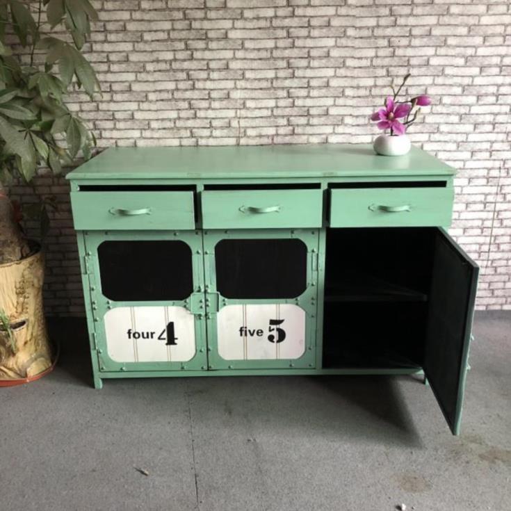 简易酒水柜家用餐厅复古现代简约柜子餐边柜收纳柜落地备餐柜木质