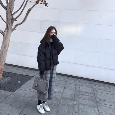 WHYSTUDIO自制2017冬季新款显高遮肉百搭格子毛呢阔腿裤