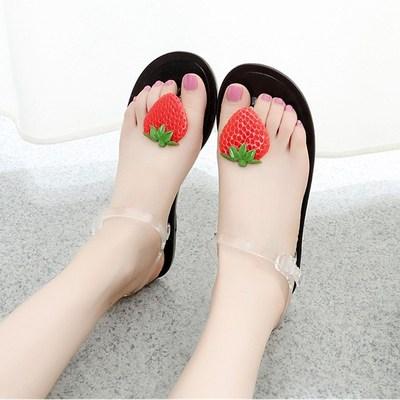 夏凉鞋女韩版原宿风个性柠檬水果可爱夹趾沙滩学生平底果冻鞋包邮