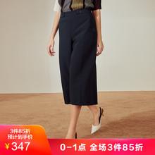 玖姿2019春季新款黑色时尚阔腿裤宽松裤子女图片