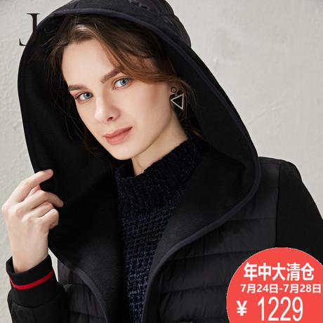 玖姿奥莱店2018冬装新款长袖单排扣螺纹修身羽绒外套商品大图