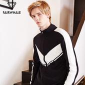 男2017冬新款 撞色条纹立领棉毛衣外套潮 马克华菲针织开衫