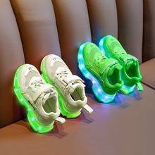 Birbiwen Girls'Shoes Summer Breathable Children's Net Red Dad's Shoes Baby Boys' Sports Shoes Green Luminous Shoes
