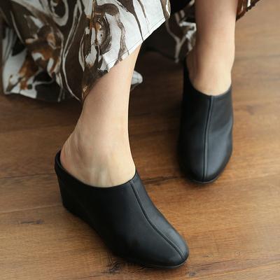 远远的阳光房原创 全牛皮坡跟拖鞋舒适厚底鞋女鞋2017-511