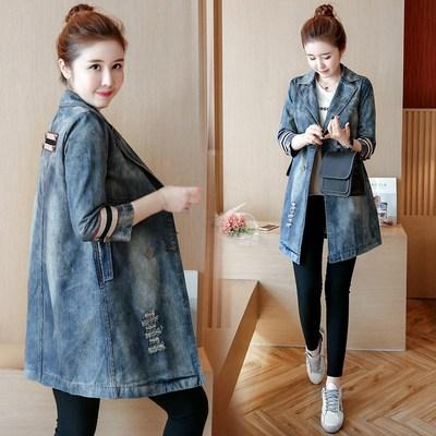 春秋季新款破洞风衣女韩版修身中长款百搭七分袖牛仔外套夹克上衣