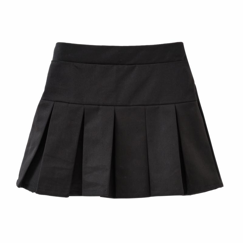 女童半身裙儿童黑色短裙子女孩百褶格子卡其藏青小学生校服中大童