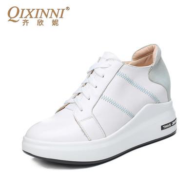 齐欣妮女式内增高小白鞋春季新款厚底鞋系带显瘦真皮鞋单鞋sy214