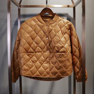2017秋冬新款韩版女菱格面包款轻薄宽松保暖时尚长袖短款羽绒服特