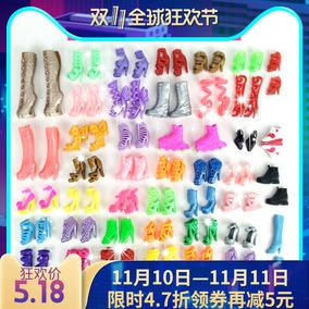 特价芭比娃娃鞋公主家水晶鞋儿童女孩过家家玩具高跟鞋芭比衣服鞋