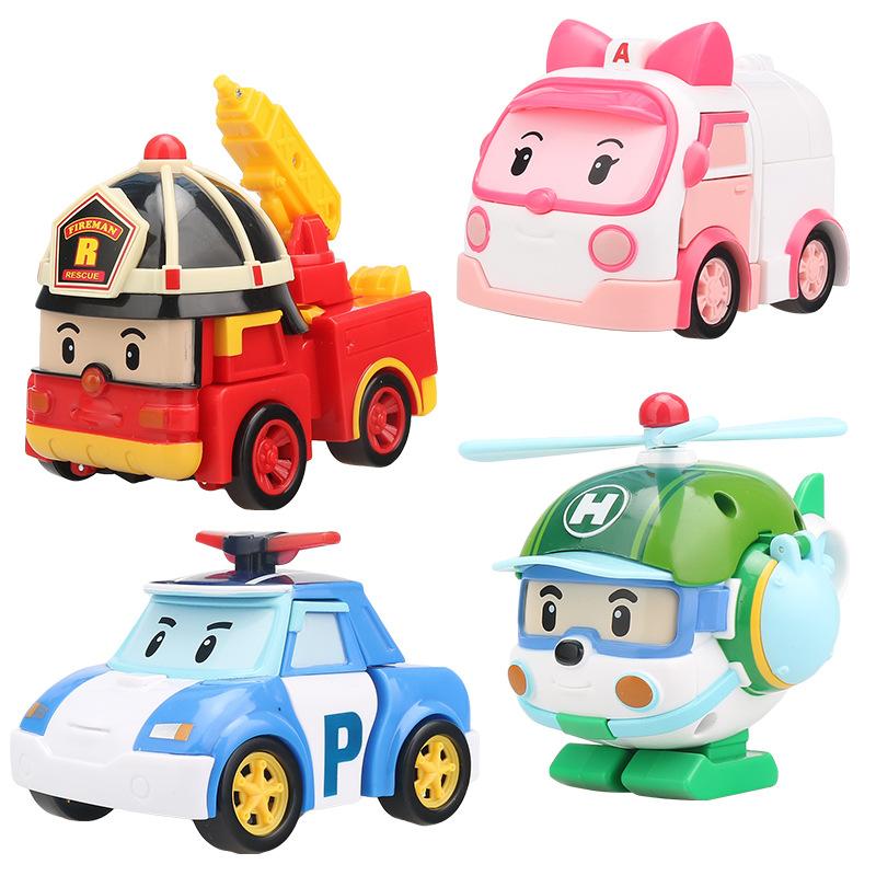 变形警车波利机器人星珀利警长儿童消防车玩具安巴救援队套装男孩