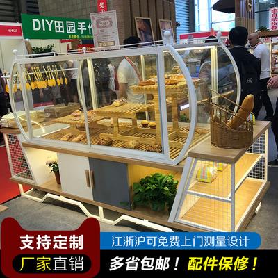 新款面包中岛柜地中海小清新风格蛋糕点心货架展示柜台边柜模型柜