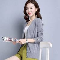 Spring loose knit cardigan women short long-sleeved jacket Slim thin thin section shawl jacket