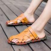 官网正品高乔耐克斯特个性时髦男式性感棕蓝色凉鞋成年男人装两用