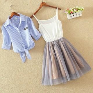 2018夏装新款女装裙小学生两件套夏季连裙裙套装小女孩时尚潮夏季