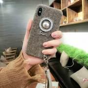 韩国潮牌iPhone7plus手机壳苹果8x防摔毛绒布套7挂绳6s女大气