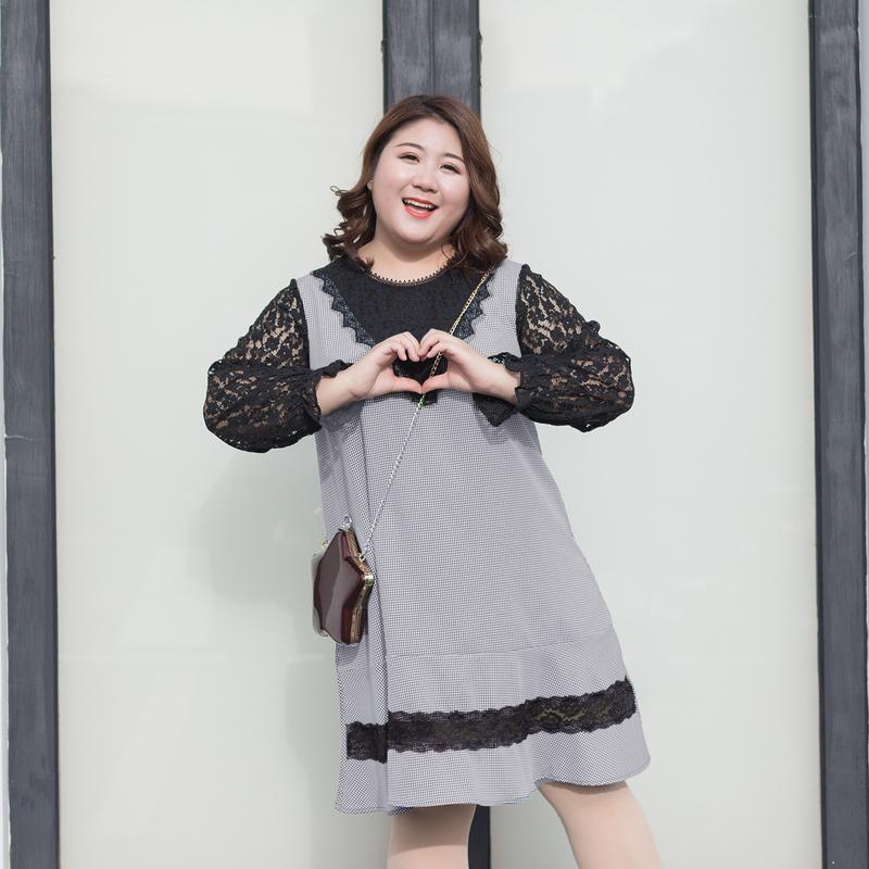加大码女装2019胖mm春装胖妹妹200斤假两件套装蕾丝千鸟格连衣裙