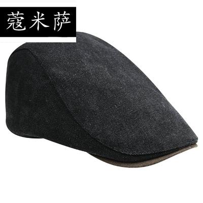秋款帽子男士 贝雷帽休闲韩版潮前进帽 帆布简约光身鸭舌帽子女