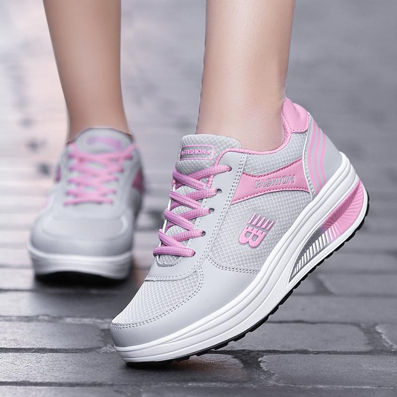 乔丹摇摇鞋女春季新款休闲网面运动鞋女鞋跑步旅游鞋厚底皮面单鞋