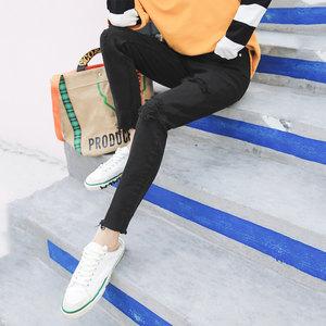 七格格破洞牛仔裤女春秋2018原宿冬季高腰小脚铅笔裤子铅笔裤长裤