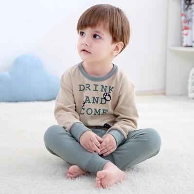 童男女童 中小学生 睡衣会服中大童长袖绿色中裤家居服套装