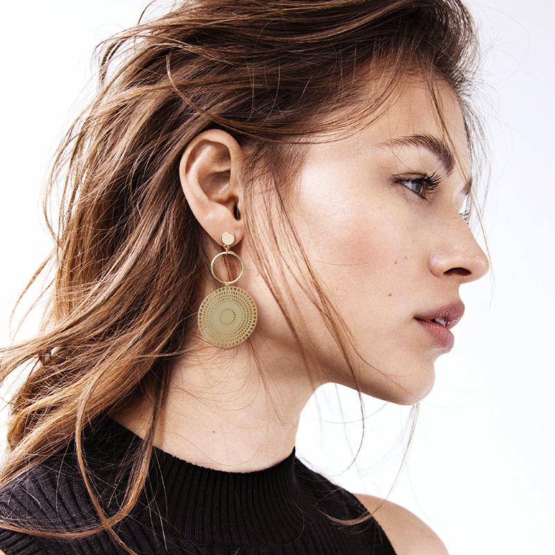 大小圆圈耳环女气质韩国个性百搭欧美夸张耳坠耳饰潮人巴洛克耳环